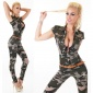 SEXY SLIM-FIT JEANS JUMPSUIT ARMY-LOOK INCL. BELT CAMOUFLAGE