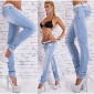 SEXY DESTROYED DRAINPIPE JEANS CRASHED LOOK WITH BELT LIGHT BLUE