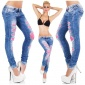 SEXY DESTROYED DRAINPIPE JEANS CRASHED-LOOK WITH LACE BLUE/FUCHSIA