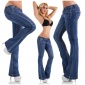 SEXY LOW-RISE FLARED JEANS IN USED-LOOK DARK BLUE