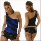 SEXY GLAMOUR ONE-SHOULDER TOP SCHWARZ/BLAU
