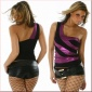 SEXY GLAMOUR ONE-SHOULDER TOP BLACK/VIOLET