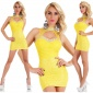 SEXY GLAMOUR PARTY LACE MINIDRESS WITH STONES YELLOW