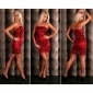 SEXY GLAMOUR SATIN EVENING DRESS MINIDRESS RED