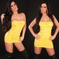 SEXY GOGO BANDEAU MINIDRESS WITH LACING YELLOW