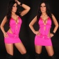 SEXY STRIPPER MINIDRESS WITH RHINESTONE BUCKLES CLUBBING FUCHSIA