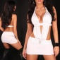 SEXY STRIPPER MINIDRESS RHINESTONE BUCKLES CLUBBING WHITE