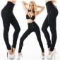 SEXY HIGH-WAISTED BLACK DENIM DRAINPIPE JEANS WITH LACING BLACK