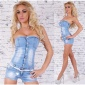 SEXY HOTPANTS JEANS OVERALL JUMPSUIT WITH LACING INCL. BELT LIGHT BLUE