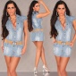 SEXY JEANS MINIDRESS WITH BELT LIGHT BLUE