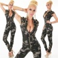 SEXY SLIM-FIT SHORT-SLEEVED JEANS JUMPSUIT ARMY-LOOK CAMOUFLAGE