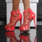 SEXY ARTIFICIAL PATENT LEATHER PLATFORM SANDALS WITH STRAPS HIGH HEELS CORAL