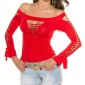 SEXY LONG-SLEEVED SHIRT WITH CUT-OUTS CLUBWEAR GOGO RED