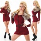 EXTRAVAGANT FINE-KNITTED SWEATER/MINIDRESS WITH FAKE FUR WINE-RED