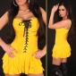 SEXY MINIDRESS DRESS WITH SATIN-LACING YELLOW