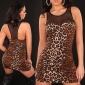SEXY MINIDRESS WITH CHIFFON LEOPARD-LOOK BROWN/BLACK