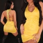 SEXY MINIDRESS WITH RHINESTONES WET LOOK CLUBWEAR YELLOW