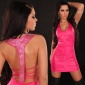SEXY MINIDRESS WITH RHINESTONES WET LOOK CLUBWEAR FUCHSIA