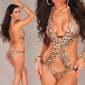 SEXY MONOKINI BEACHWEAR WITH PEARLS LEO-LOOK LEO-BROWN