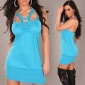 SEXY HALTERNECK MINIDRESS WITH RHINESTONE-BUCKLE TURQUOISE