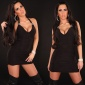 SEXY HALTERNECK MINIDRESS WITH DECORATION BUCKLES BLACK