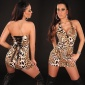 SEXY HALTERNECK MINIDRESS WITH LACING LEOPARD-BROWN