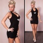 SEXY HALTERNECK MINI DRESS WITH RHINESTONES BLACK