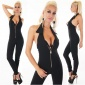 SEXY SKINNY HALTERNECK OVERALL JUMPSUIT WITH ZIPPER BLACK