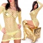 SEXY FISHNET DRESS GOGO YELLOW