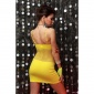 SEXY FISHNET MINIDRESS GOGO CLUBWEAR YELLOW