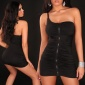 SEXY ONE-SHOULDER MINIDRESS WITH ZIPPER BLACK