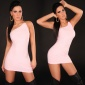 SEXY ONE-SHOULDER MINIKLEID KLEID ROSA