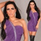 SEXY ONE-SHOULDER MINIDRESS WITH RIVETS RHINESTONES PURPLE