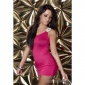 SEXY ONE-SHOULDER MINI DRESS WITH RHINESTONES FUCHSIA