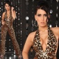 SEXY OVERALL JUMPSUIT GOGO CLUBWEAR LEOPARD-OPTIK