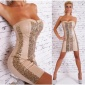 SEXY BANDEAU MINIDRESS PARTY LEATHER-LOOK SEQUINS BEIGE/GOLD