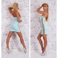 SEXY BANDEAU MINIDRESS PARTY LEATHER-LOOK SEQUINS MINT/GOLD