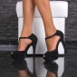 SEXY PEEP TOE SANDALS PLATFORM HIGH HEELS SHOES BLACK