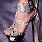 SEXY PLATFORM HIGH HEELS WITH RHINESTONES AND RIVETS SILVER