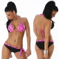 SEXY PUSH-UP BIKINI BEACHWEAR BLACK / FUCHSIA