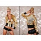 SEXY REDIAL GLAMOUR BIKER JACKET CLUBBING GOLD/BLACK