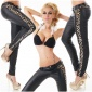 SKINNY DRAINPIPE PANTS IN LEATHER-LOOK WITH LEOPARD PATTERN BLACK
