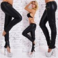 SEXY SKINNY DRAINPIPE PANTS ARTIFICIAL LEATHER WITH LEG-ZIPPER BLACK