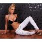 SEXY DRAINPIPE PANTS CLOTH PANTS WITH RIFTS LEO-LOOK WHITE