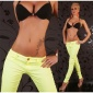 SEXY DRAINPIPE PANTS CLOTH PANTS NEON-YELLOW