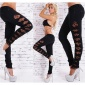 SEXY DRAINPIPE STRETCH PANTS WITH CUT-OUTS LEOPARD-LOOK BLACK