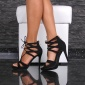 SEXY SANDALS PLATFORM HIGH HEELS SHOES MADE OF VELOUR BLACK