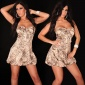 SEXY SATIN BALLOON DRESS BANDEAU DRESS RHINESTONES LEO-BROWN