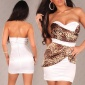 SEXY SATIN BANDEAU DRESS SHEATH DRESS LEO-BROWN/WHITE