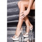 SEXY SATIN PLATFORM-SHOES HIGH HEELS RHINESTONES SILVER